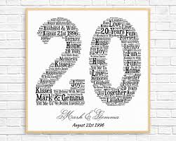 20 year anniversary ideas personalized 20th anniversary gift word printable 20