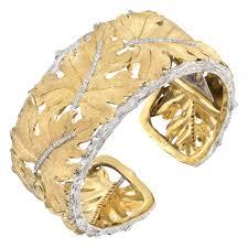 white gold leaf bracelet images Estate buccellati 18k gold diamond leaf cuff bracelet betteridge jpg
