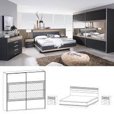 Schlafzimmer Komplett Eiche Sonoma Rauch Schlafzimmer Set Tarragona 180x200cm Bett Anthrazit Eiche