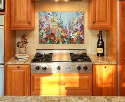 Kitchen Mosaic Backsplash Ideas by Custom Kitchen Mosaic Backsplash Art Hand Cut Stained Glass