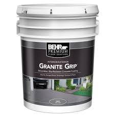 Removing Paint From Concrete Steps by Behr 5 Gal Gray Granite Grip Interior Exterior Concrete Paint
