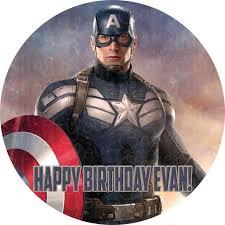 Captain America Decor Captain America Civil War Round Edible Icing Cake Decor Toppers