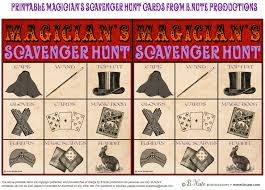 bnute productions free printable magician u0027s scavenger hunt game