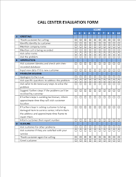 free call center evaluation form templates at