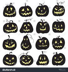 set scary halloween pumpkin white backdrop stock vector 217749361
