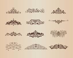 vector set of vintage ornaments with floral design elements free