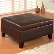 Square Brown Leather Ottoman Sofa Hassock Furniture Black Leather Ottoman Coffee Table Square
