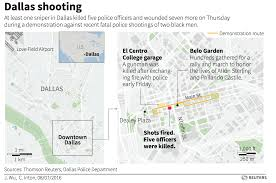 Dallas On Map by Police Officers Shot At Least 5 Killed In Sniper Attack In Dallas