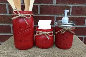 Red Kitchen Set - hand painted mason jar kitchen set 3 piece mason jar kitchen