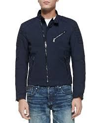 blue motorcycle jacket ralph lauren black label lightweight biker jacket in blue for men