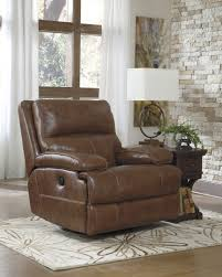 Recliner Rocking Chair Buy Ashley Furniture Lensar Nutmeg Powered Swivel Rocker Recliner