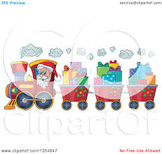clipart of a cartoon christmas santa claus driving a train and