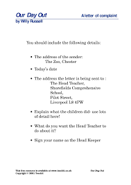 write the zoo keeper u0027s letter of complaint our day out by willy