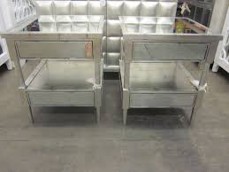 Silver Leaf Nightstand Pair Of Silver Leaf And Mirrored Nightstands End Tables At 1stdibs