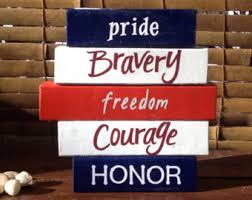 Word Blocks Home Decor Patriotic Word Art Etsy