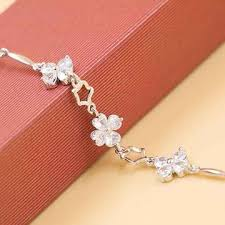girls bracelet silver images China fashionable white gold plated four petals flower style jpg