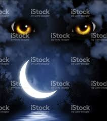 yellow eyes over a dark night background with crescent moon stock