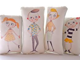 Etsy Vintage Home Decor by Printed Pillow Dolls Art Doll Display Retro Family Cloth Dolls