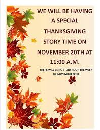 thanksgiving story time calendar sunad