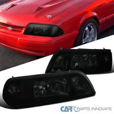 ebay mustang headlights ford 87 93 mustang replacement smoke 1 style headlights