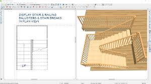 plan view display newels balusters railings and stair breaklines in plan view