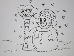 draw a snowoman love you card for mom grandma youtube