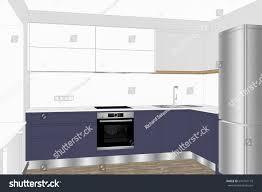 Sketch Kitchen Design by 3d Illustration Modern Kitchen Design Light Stock Illustration