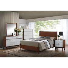 coaster oakwood mid century modern panel bedroom set in golden