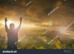 beautiful thanksgiving prayer silhouette man hands rise on beautiful stock photo 388479403