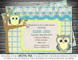 boys baby shower invitation owl theme blue yellow gray