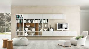 modern cool white wooden wall mounted bookshelves and tv stand