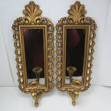 vintage hollywood regency mirror wall sconces homco gold candle