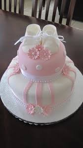 baby shower cake cake is covered in an ivory u0026 baby pink fondant