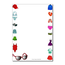 themed clothes summer clothes page border writing frame no lines primary