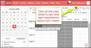 what each color means appointment status colors on the calendar screen what do they