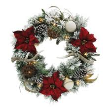 Battery Operated Christmas Decorations Outdoor by Shop Artificial Christmas Wreaths At Lowes Com