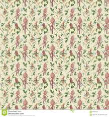 old seamless repeat botanic floral pattern wallpaper stock