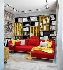 living room industrial loft style bright interior design with
