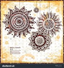beautiful vintage sun ornament can be stock vector 139482995