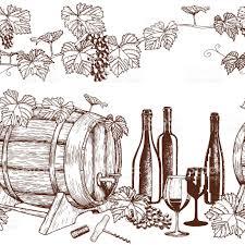 seamless horizontal borders of sketch wine icons stock vector art
