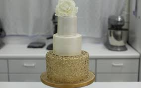 how to decorate a cake with gold sequins youtube