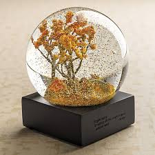 autumn trees water globe let it snow water globes