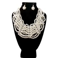 collar bib necklace images Cream glass pearl layered collar bib necklace set jpg
