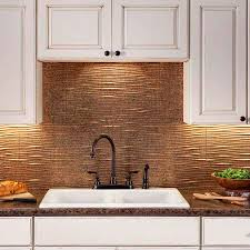 decorating artistic fasade backsplash with white kitchen cabinets fasade backsplash waves in cracked copper matched with countertop plus white cabinets and sink plus black
