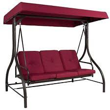 outdoor daybed swing canopy red deck porch patio pool 3 seats