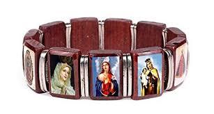 catholic bracelet blessed icons religious catholic wooden stretch bracelet