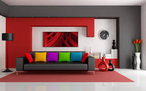 interior modern fresh living room decoration with l shape orange