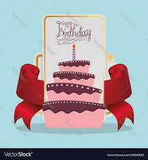 happy birthday cake card festive royalty free vector image