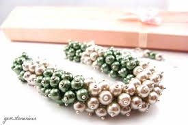 pearl bib statement necklace images Olive green taupe beige pearl cluster chunky bib statement jpg