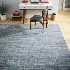 Mid Century Modern Area Rugs Mid Century Heathered Basketweave Wool Rug Midnight West Elm
